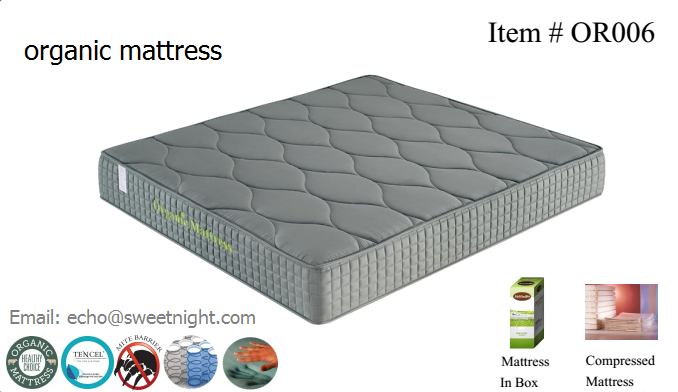 2017 new hotel organic mattress, comfortable memory foam zoned pocket spring mattress