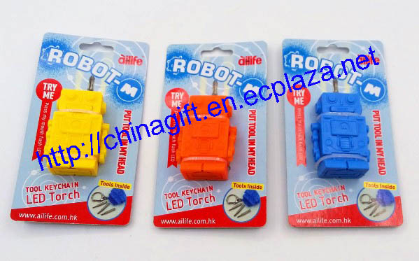 Robot M Tool Key chains LED torch