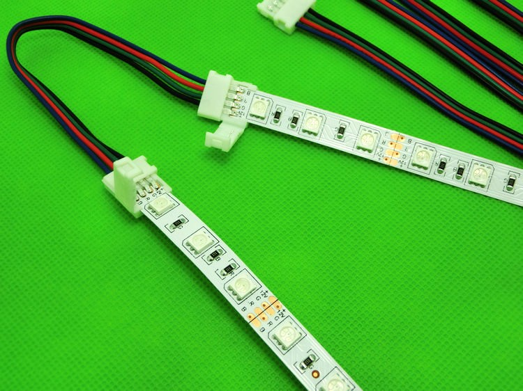 10mm 4pin for RGB color strip LED connector wire, free solder connector with double connectors for s