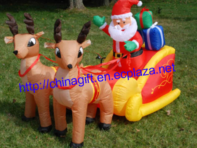2.1 Meter Inflatable Santa Claus & Penguin on Sleigh Pulled by 2 Reindeer Lawn Decoration