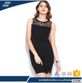 2017 new design o-neck slim one -piece lace dress