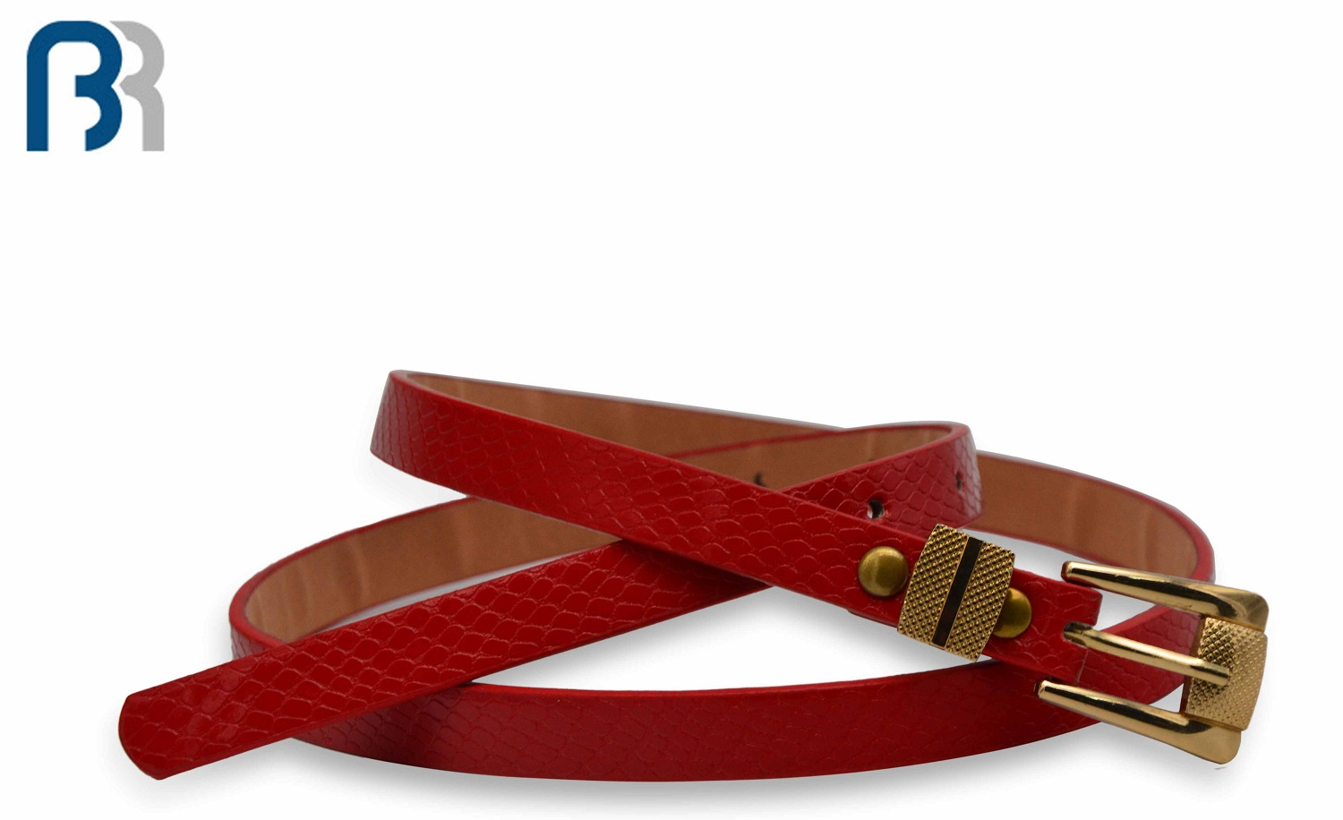 Belt With Double Shine Metal Rings Red Strap