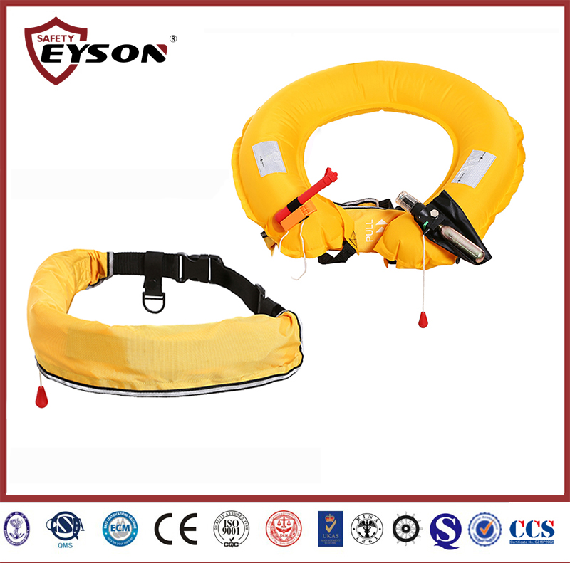 Waist inflatable life jacket for fishing