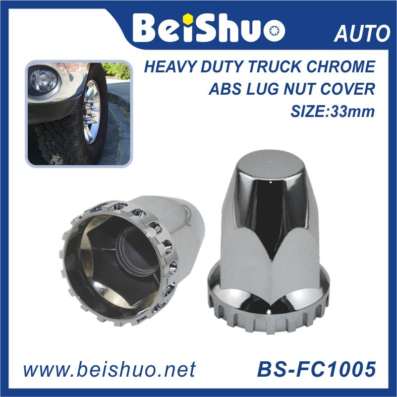 China Factory Chrome 33mm wheel Truck lug Nut Cover Fit for Rear and Front Axle Hub Caps