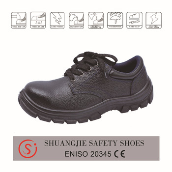 safety work shoes 8056 embossed leather pu outsole