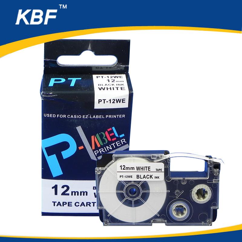 Compatible casio label printer tape 12mm Black on White PT-12WE XR-12WE