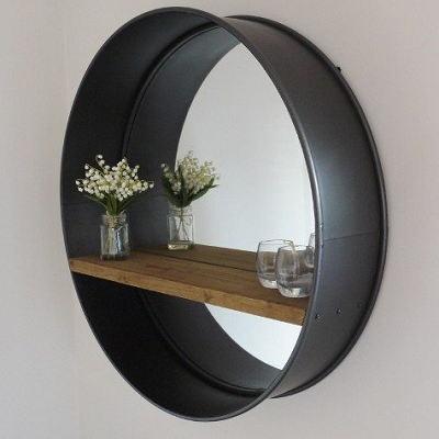 Large Black Retro Circular Metal Wall Round Mirror With Rustic Wooden Shelf