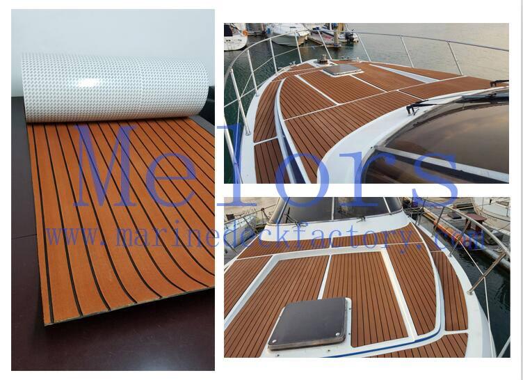Melors Flooring Non-skip Strong Adhesive EVA Foam Faux Teak Sheet