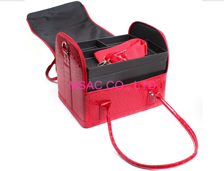 Red Leather Crocodile Beauty Bag With Tray Boxes