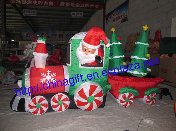 2.4M Inflatable Santa Claus Driving Train on Candy Wheels Pulling Christmas Trees