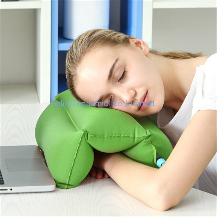 Flocked PVC Inflatable Roller Pillow for Noon Break