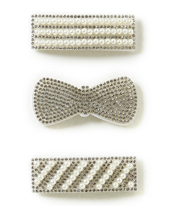 Beautygirl Girls 3-Pack Rhinestone and Pearl Hair Clip Set