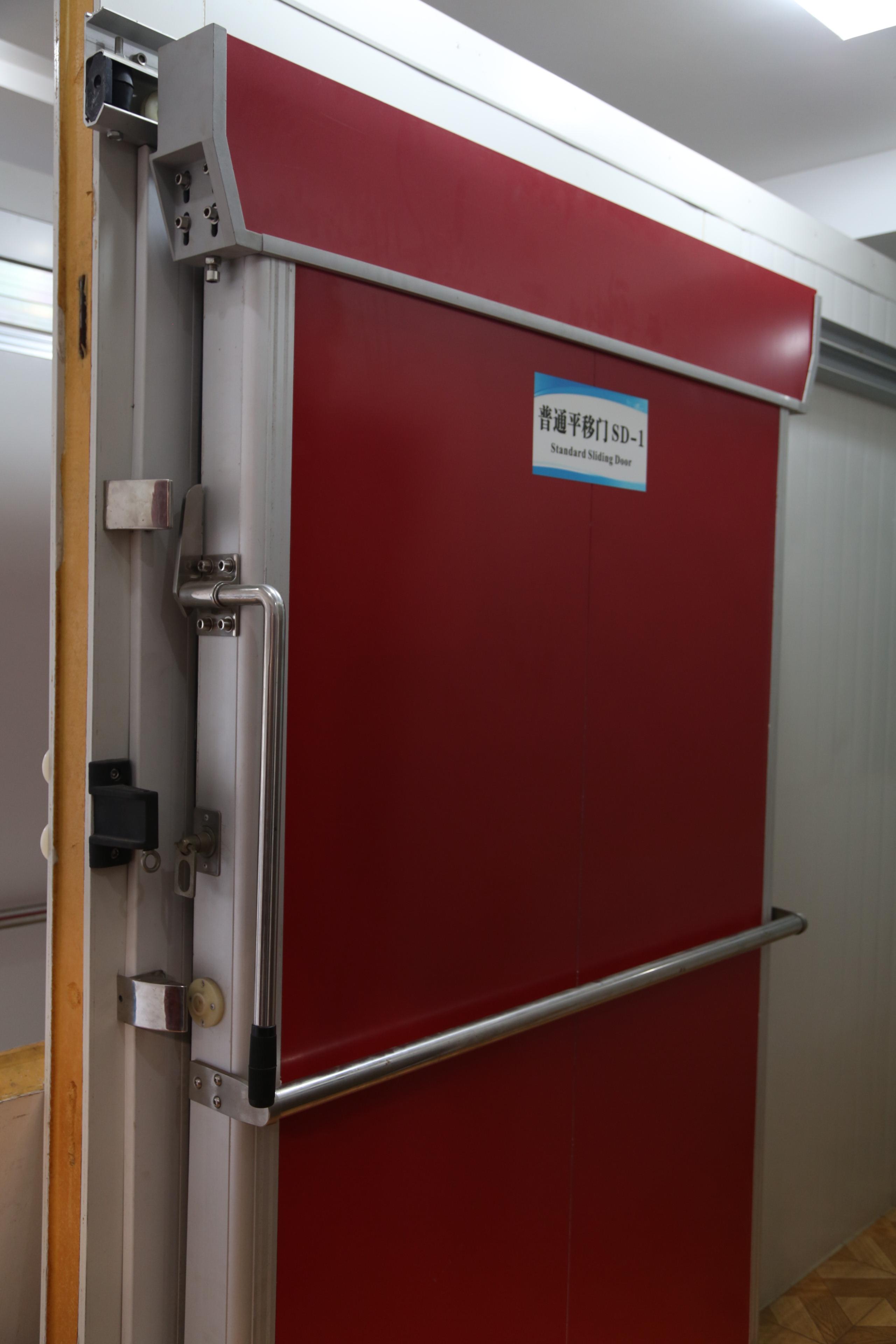 red manual sliding door