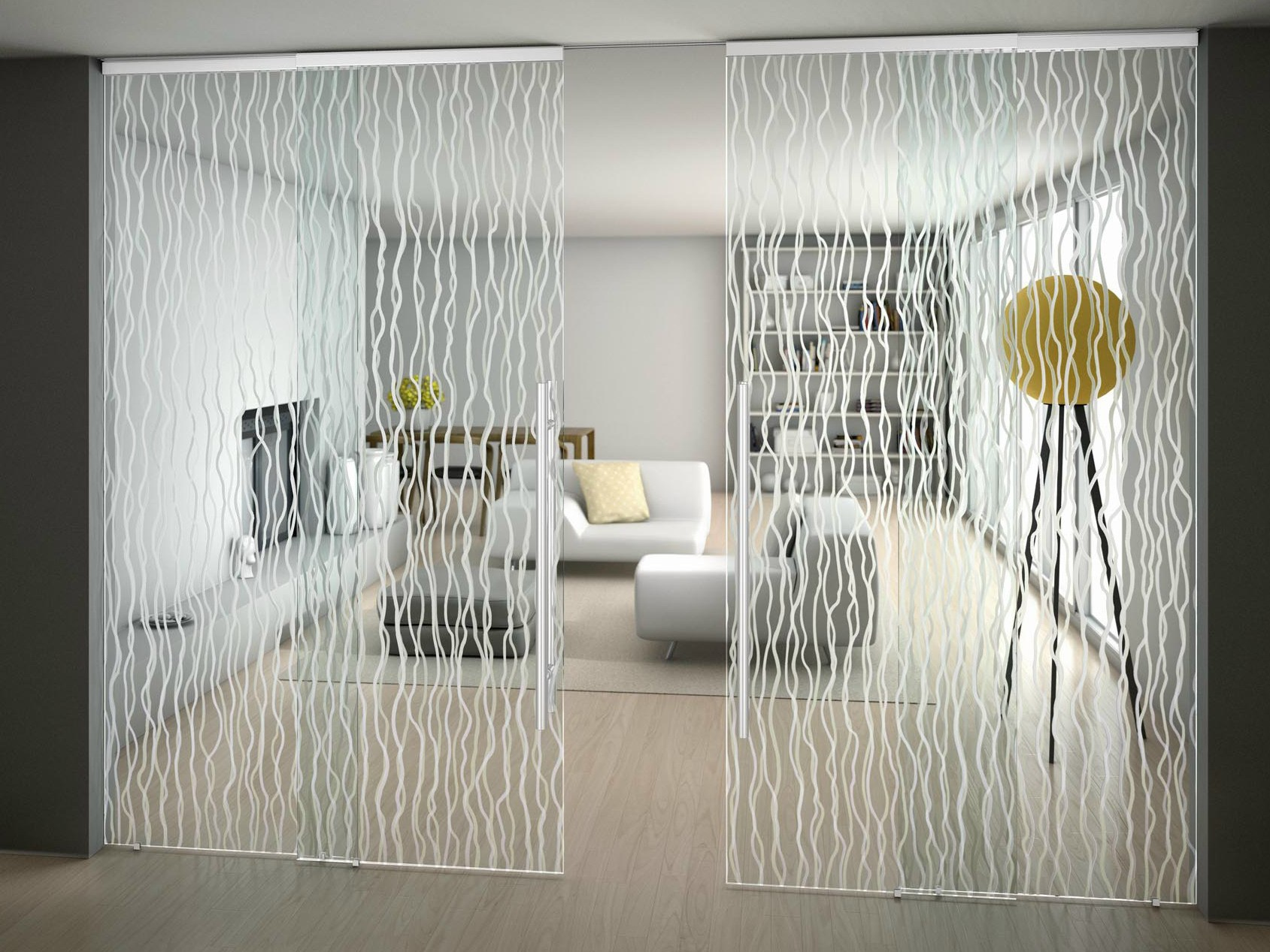 Living room Printed glass partition with fashion design