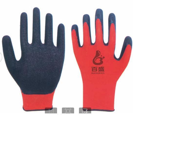 13G polyester gloves Latex coated crinkle.