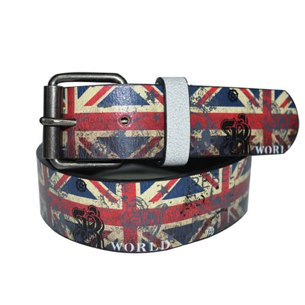 Popular Factory Price Printed PU Leather Man Belt with UK Union Flag [JB17062-1-PR]