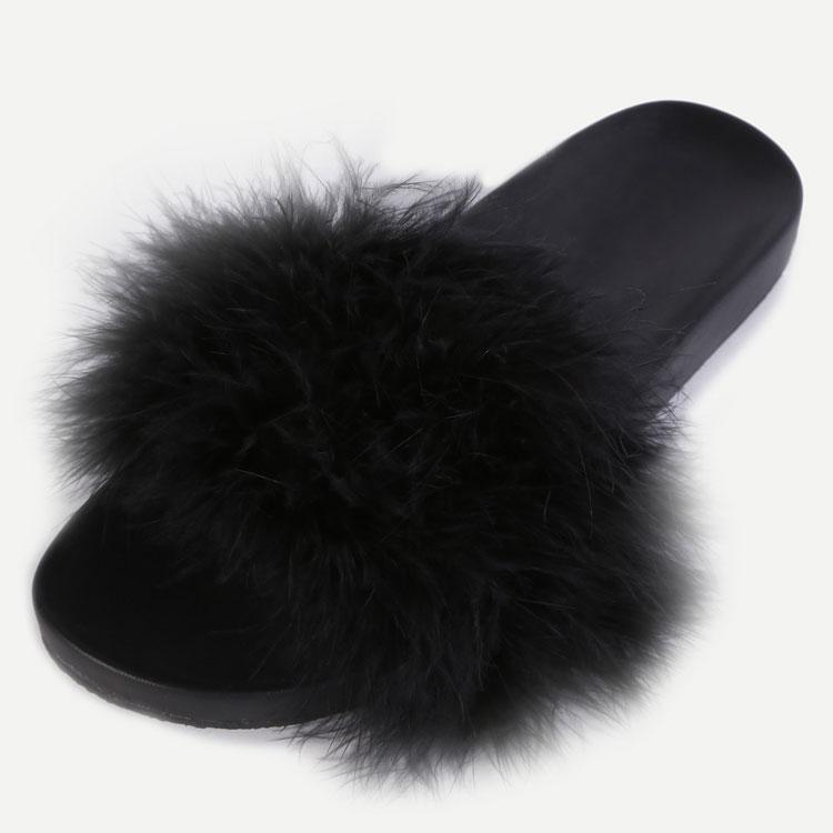 Wholesale Black Faux Fur Soft Sole Slide Sandal Women Summer Flat Slippers