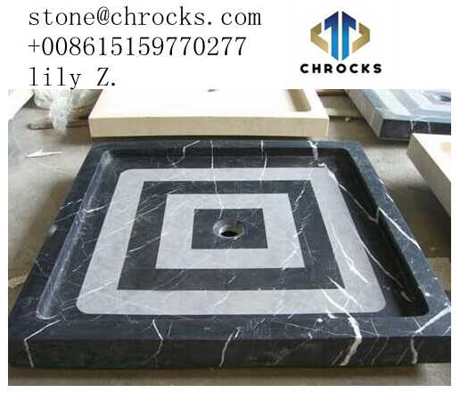 Solid Surface Shower Tray,Black Marble Showe Tray