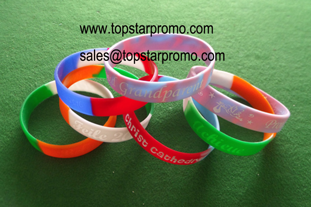 Color fill in Silicone Bracelets for promote