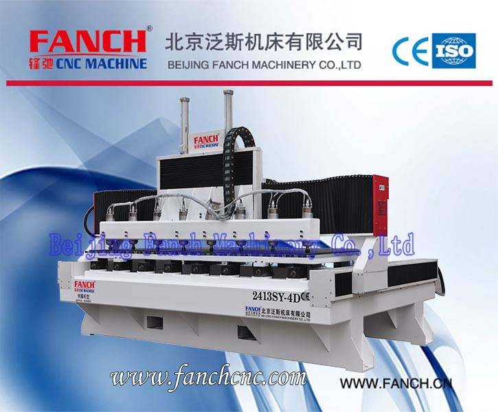 Wood Four Axis Eight Spindles 3D Engraving Machine[FC-2413SY-4D]
