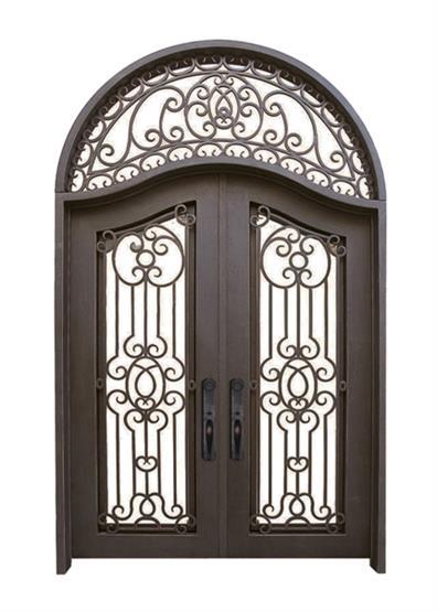 wrought iron interior security door design glass door(JDL-1011)