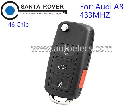 Flip Key For Audi A8 remote Key 46 Chip 433mhz