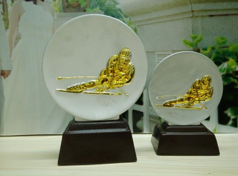 Silver & Gold Ceramic skii Trophy, Skii awards, sports trophy