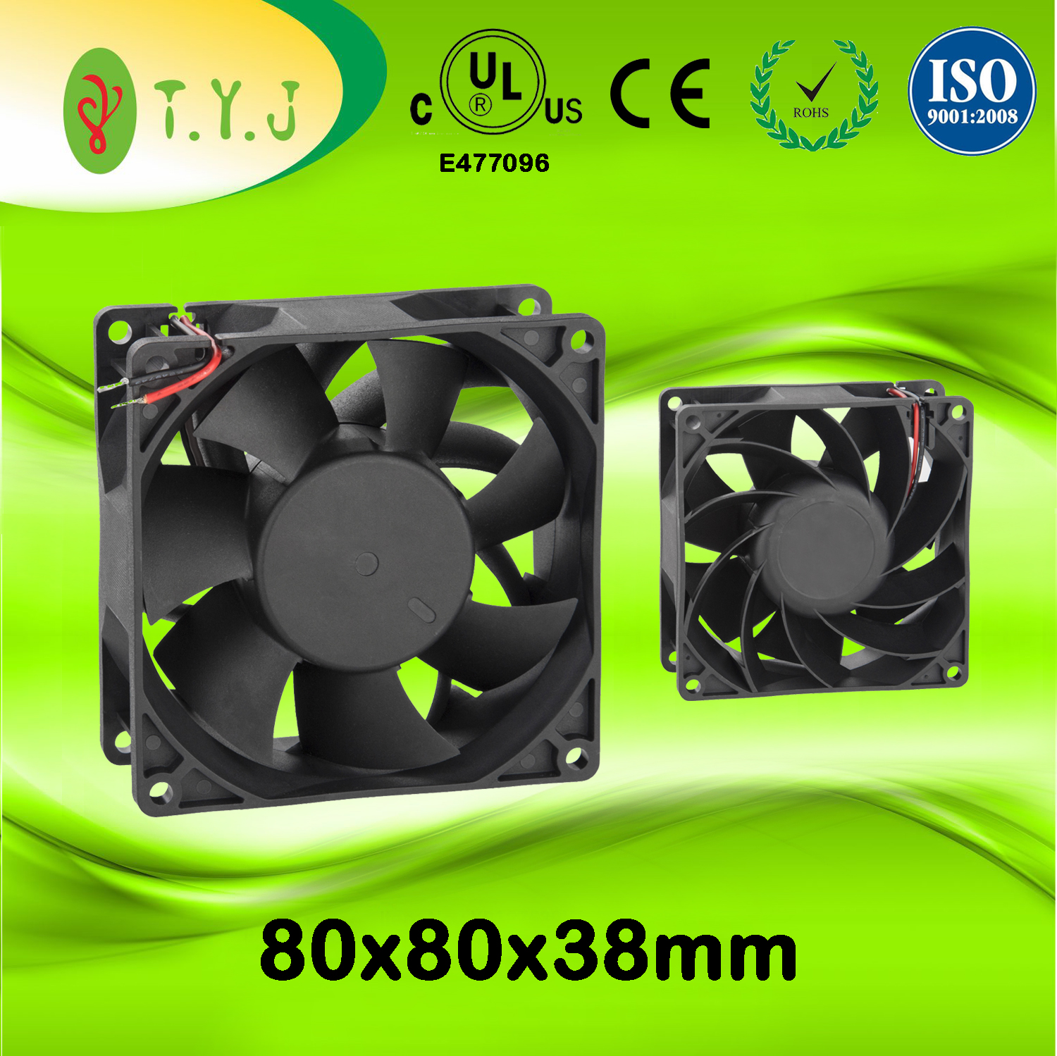 2017 Newest DC ventilation fan 808038mm with cooling fan