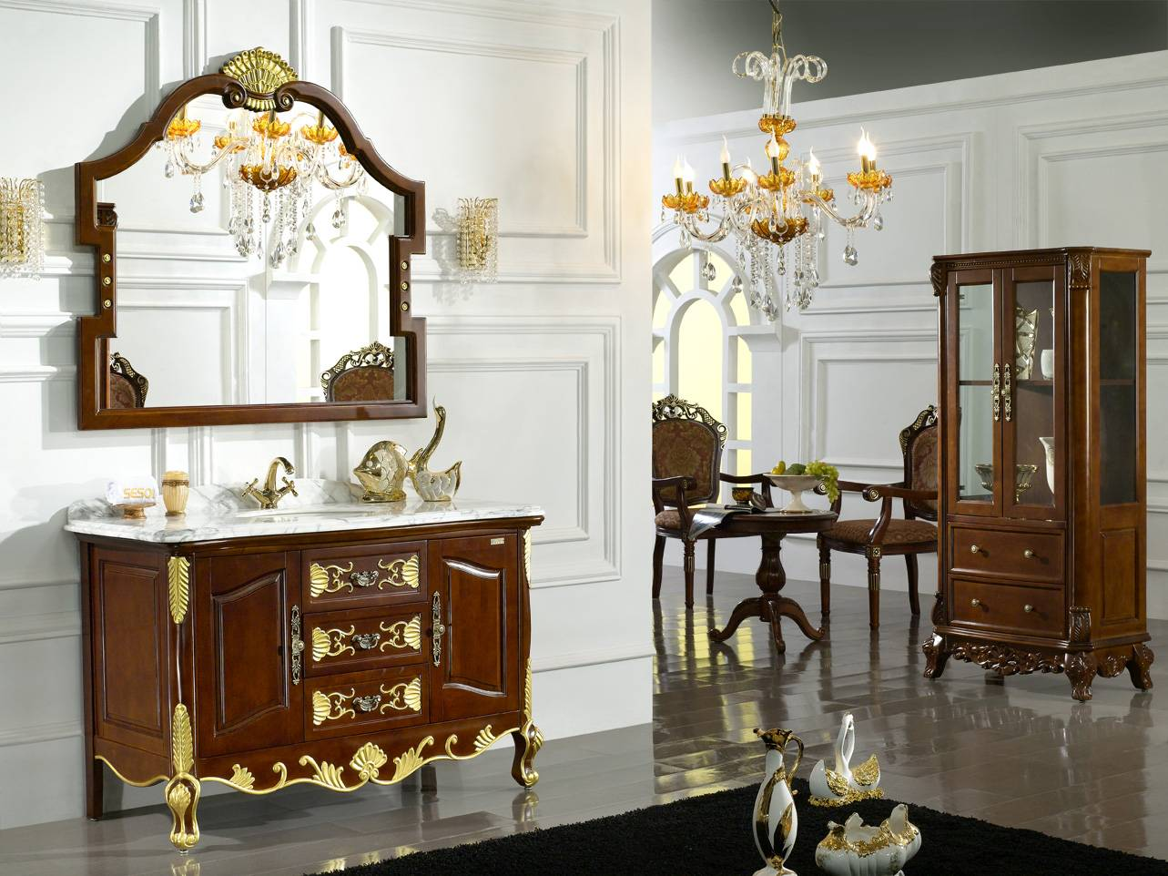 Gold Plated Luxury Bathroom Vanity Cabinets Foshan Shunde District Shengshioulin Sanitary Ware