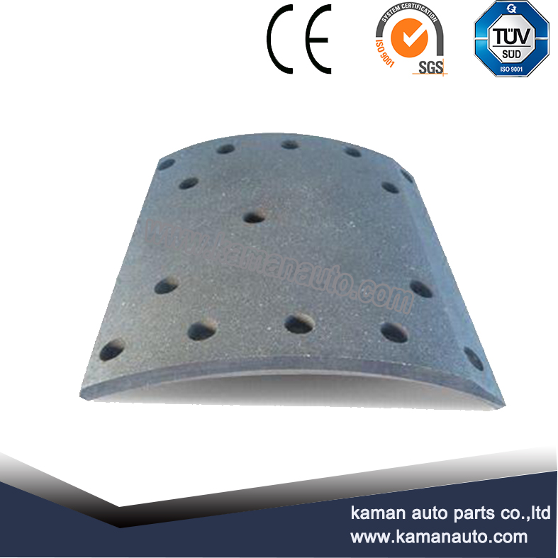 Semi-metallic DAF truck spare parts, WVA 19094 brake lining for heavy duty truck by factory direct s