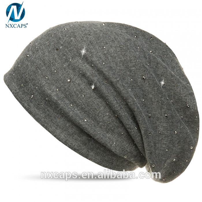 Glitter bling beanie hat custom slouchy beanies with rhinestone decorated cap