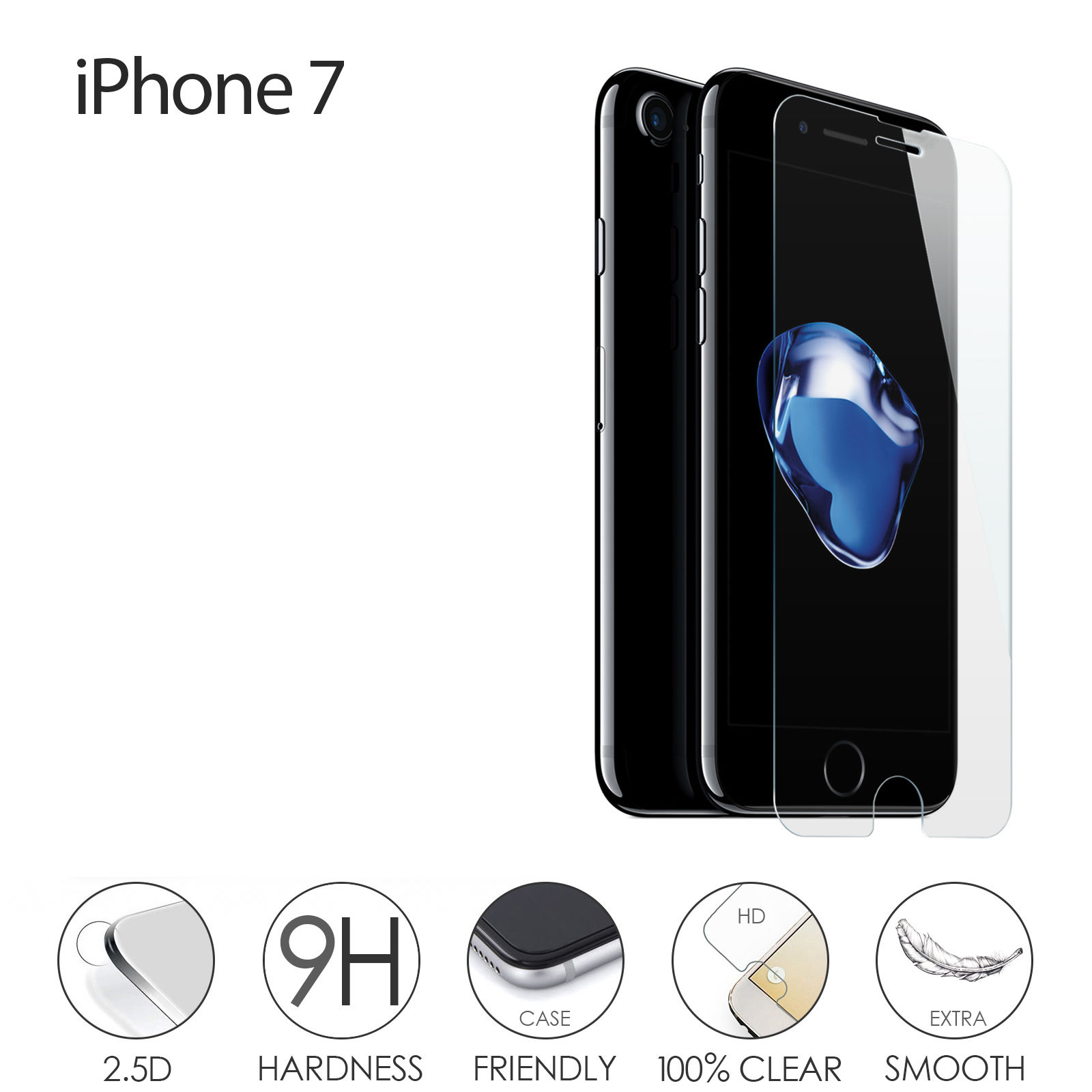 9H 2.5D cell phone screen protector, 0.33mm tempered glass screen protector for iPhone 7