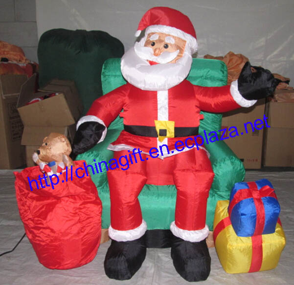 1.2 Meter Inflatable Santa Claus in Green Chair Lawn Decoration