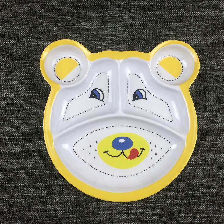 Bear shape melamine plate for children