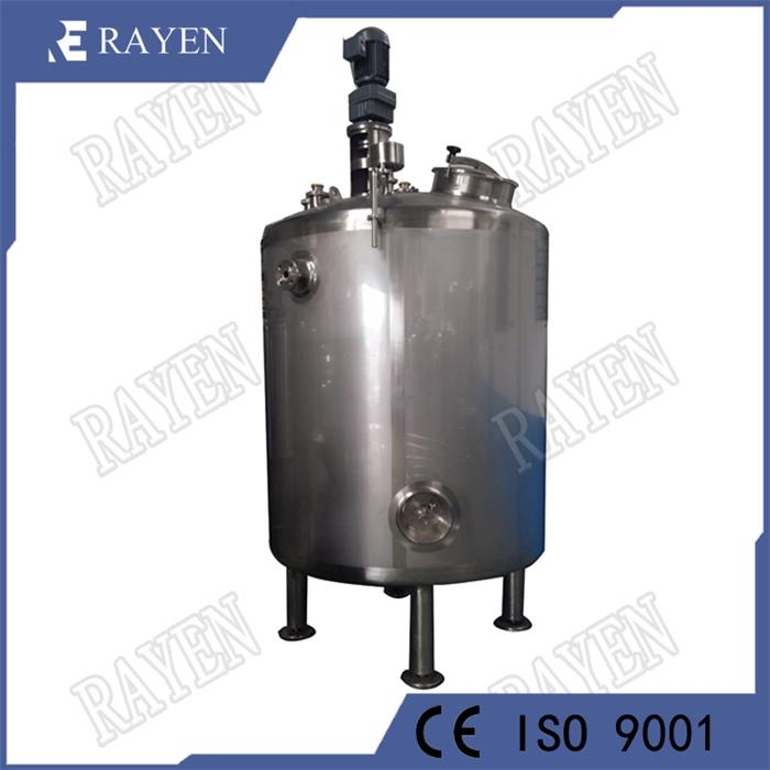 Stainless steel beverage mixing tank with agitator