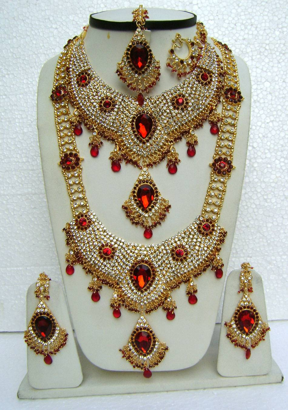 AMERICAN DIAMOND JEWELRY SAREES PARTYWEAR KUNDAN NECKLACE WEDDING ...