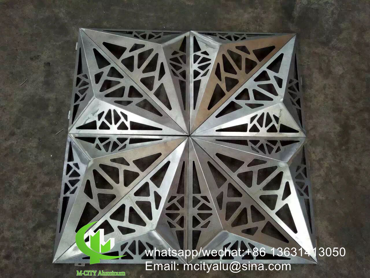 aluminium cladding for facade with perforated patterns