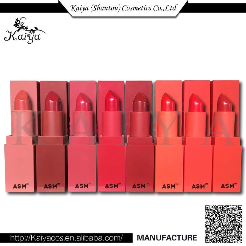 2017 Kaiya OEM Manufacturer Custom Cosmetic Makeup 8 Color Silky Matte Lipstick