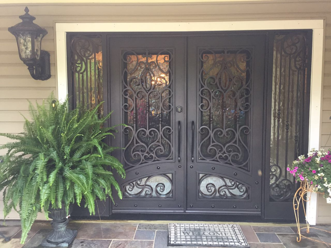 Xiamen Factory Direct Wrought Iron Double Entry Doors(JDL-1003)