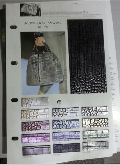 Metallic Surface Crocodile PU Synthetic Leather for Bag & Shoes K610