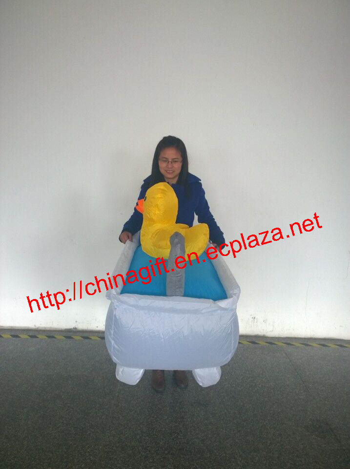 Inflatable bathtub costume with yellow duck