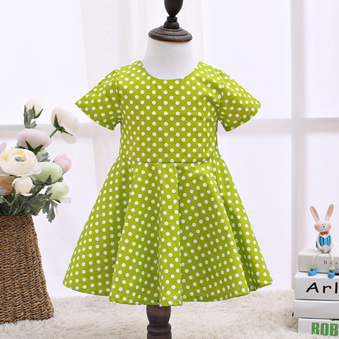 2017 Childrens Designer Clothes Cut Kids Dresses Green Children Clothing LSCG1701G