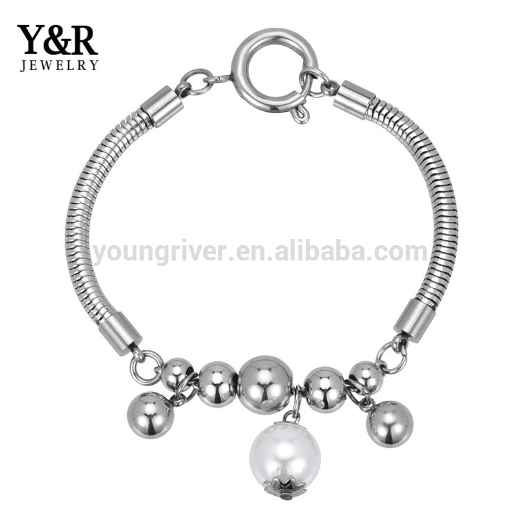 Most Popular Snake chain Stainless Steel Bead Charms Bracelets