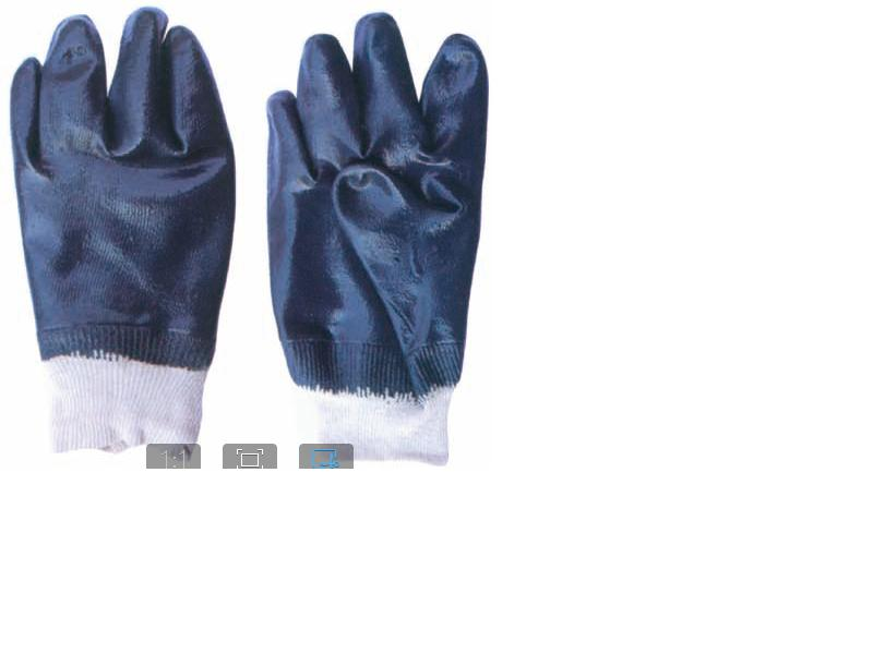 Cotton jersey glove with fully Nitril coated
