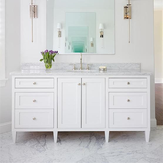 Modern Solid Wood Bath Vanity Cabinet Kitchen White Chic American Style