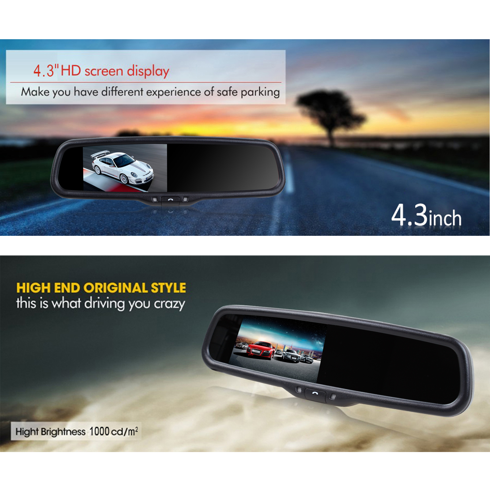 4.3 Inch Rearview Mirror Bluetooth Handsfree Car Kit