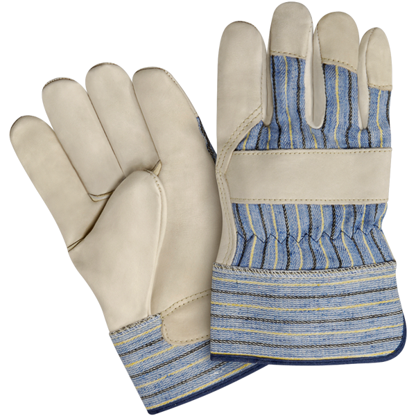 Split Leather Work Gloves Rubber Cuff