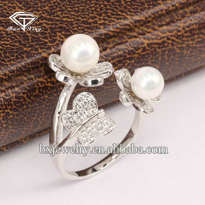 Wholesale china factory popular elegant 925 silver flower and butterfly ring