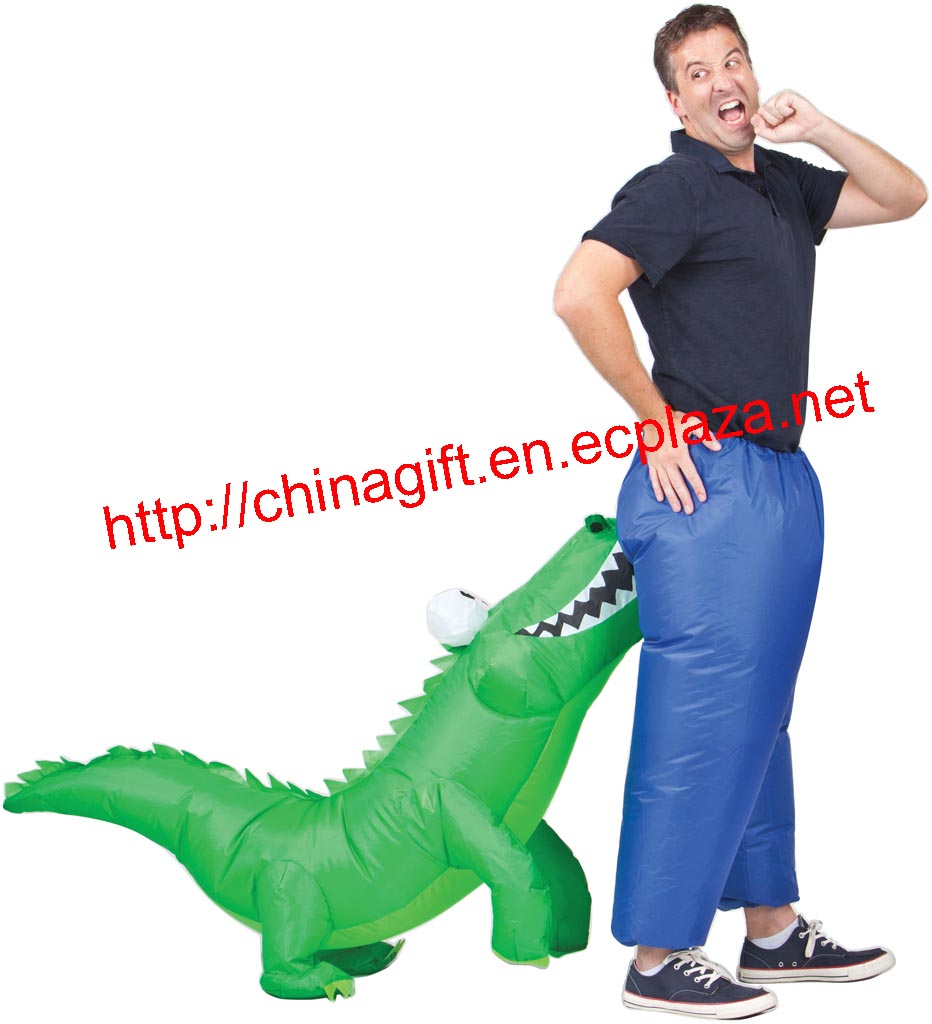 Inflatable crocodile attack man costume