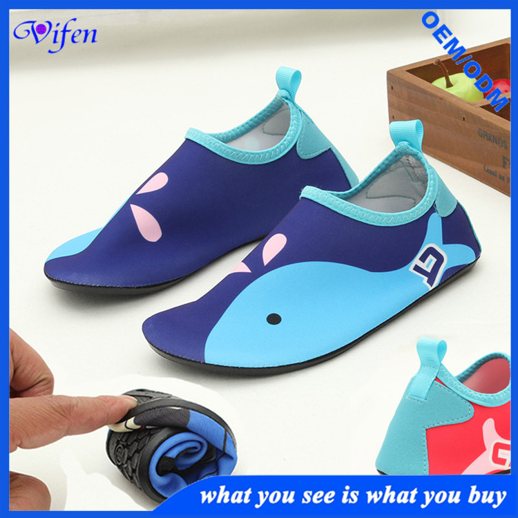 Newly design childrens leisure shoes water sports shoes swimming pool shoes with TPR sole